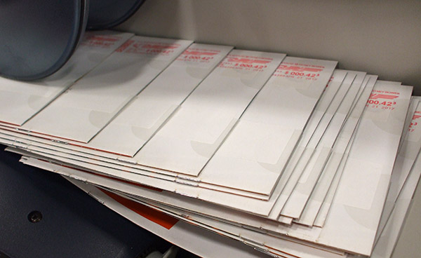 mail pieces being metered